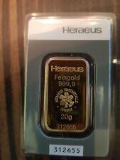 20 Gramm Goldbarren Heraeus im Blister 999,9 Neu