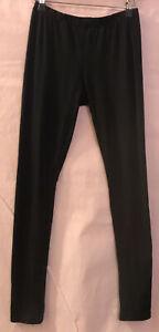 M ICE Black Smooth Feel Basic Simple Plain Full Length Leggings Pants Worn 1x