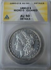 """Scarce"" 1880-o  Micro ""o"" MORGAN SILVER DOLLAR, ANACS AU50, VAM ERROR, Morgan$"