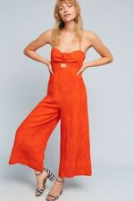NWT Anthropologie Elevenses Red Tropicale One Piece Pant Halter Tie Jumpsuit 14