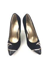 "Yoki 4"" Heels Size 8 Black Gold Trim Pointed Toe Suede Stilettos Shoes Womens"