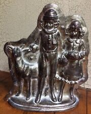 Tin Style Christmas Caroling Boy, Girl & Deer Silver Resin Chocolate Mold Decor