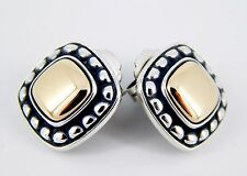 Retired James Avery Sterling and 14K Square Beaded Dome Earrings