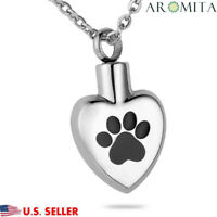 Pet Paw in my Heart Cremation Jewelry Keepsake Memorial Urn Necklace Ash Holder