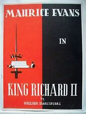 KING RICHARD II Souvenir Program MAURICE EVANS / MARGARET WEBSTER NYC 1937