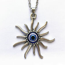 Evil Eye Bead Mayan Sun Charm Greek Turkish Silver Necklace Jewelry