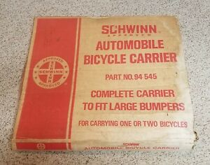 RARE VINTAGE 1978 Schwinn Automobile Bicycle Carrier No. 94 545