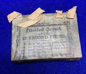 Civil War Frankford Arsenal 12 Second Cannon Fuzes Fuses 1863 Antique Original