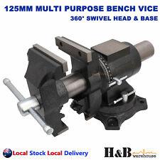 "Pro 5"" 125mm Multi Purpose Rotating Bench Vice 360° Swivel Base Head pipe Jaws"