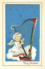 Vintage PIXIE Angel Playing HARP CHRISTMAS Greeting CARD Mid Century Mod Die Cut