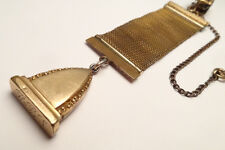 ANTIQUE GOLD FILLED ORNATE FOB POCKET WATCH HOLDER MESH CHAIN WEH PAT PEND