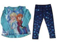 Girls Top & Leggings Set Disney Frozen Elsa & Anna Ages 2 3 5 6 Years Snowflakes