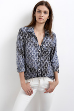 VELVET By Graham & Spencer Makelli Button Up Printed Blouse Top Ranch Blue S $98