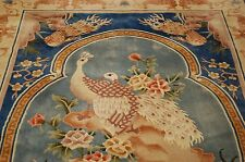 Ci 1970s MINT ART DECO CHINESE BIRD DESIGN RUG 5.1x8.1 COMFORTING SOFT WOOL