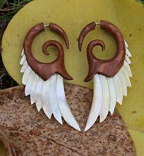 Golden Angel Wings  Fake Gauge Earrings ,Tribal Style, Mother of pearl Shell