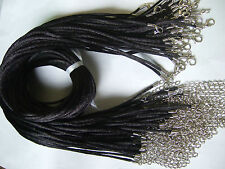 "Wholesale Lot 50pcs 2mm Black Satin Silk Cord Necklace 18"" With Clasp Chain"