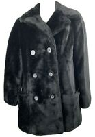 Black Faux Fur Double Breasted Coat Size 16 Vintage 70s Mod White Stag Jacket