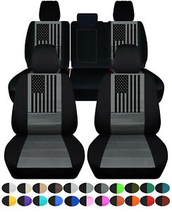 Front+Rear custom fit car seat covers 2 tone w/USA flag fits Grand Cherokee11-20