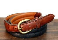 VINTAGE DOCKERS BLACK BROWN GENUINE LEATHER BRASS BUCKLE GOLF MEN'S BELT 34 (I36