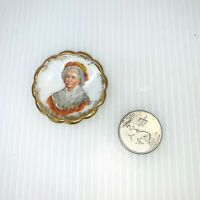 """VINTAGE LIMOGES FRANCE PORCELAIN MINI PORTRAIT PLATE Colonial 1 3/4"""" Diameter"""
