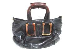 Auth Chloe Ethel Black DarkBrown Leather Handbag