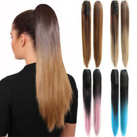 Women Straight Claw Ponytail Ombre Long Ponytails Synthetic Hair Extensions 22""