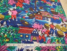 "43""Wx65""L Fabric ""BANANA PLANTATION"" Scenic BRIGHT COLORS Workers Farm Tropical"