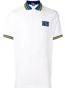 $98 Polo Ralph Lauren Men's White Classic Fit Short Sleeve Hi Tech Logo Shirt L