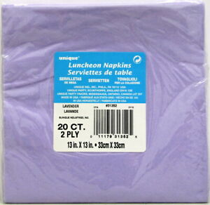 Lavender Luncheon Napkins 20 Ct 2 Ply 13 in X 13 in Unique Cocktail Light Purple