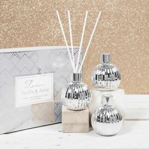 Desire Set of 3 Home Fragrance Vanilla & Anise Silver Reed Diffuser Gift Set
