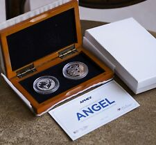 2016 Isle of Man PROOF & REVERSE Silver Angel 2-Coin Set