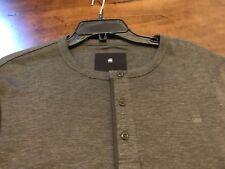 NWT $65 RAW G-Star Men's Long Sleeve Henley T Shirt XXL Asphalt Gray
