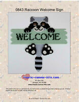 Raccoon  Welcome Sign- Plastic Canvas Pattern or Kit