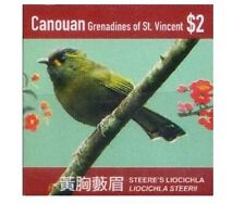 Ca. Gr. of St Vincent 2015 MNH, Taiwan Birds, Steere's liocichla, Self Adhesive