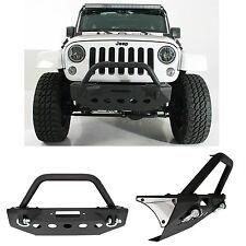 07-16 Jeep Wrangler JK Black Rock Crawler Stubby Front Bumper+Bull Bar Hoop