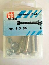 4 Bulloni 6x50 mm in ferro zincato testa esagonale con dadi bullone dado viteria