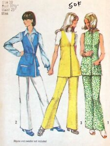 Simplicity 9984 Pattern VTG 70s Pants Tunic Top Work MOD Size 10 Complete Cut