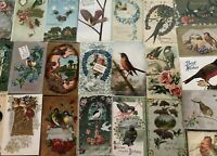 Nice ~Lot of 25 VINTAGE~ Greetings Postcards with *BIRDS~Bird-in sleeves---b45