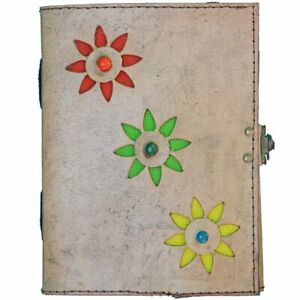3-Stone Leather Cover Floral Cut-Work Handmade Paper Journal Diary, Pack of 2