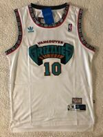 NWT Mike Bibby #10 Vancouver Grizzlies Men's Throwback Vintage Sewn WHITE Jersey