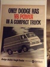 Original 1965 Dodge Van Magazine  Ad -  V8 Power  In a Compact Truck