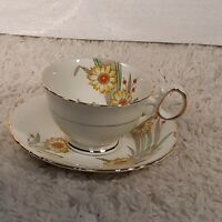 Antique 1930s Delphine Bone China Sunflowers Tea Cup and Saucer England