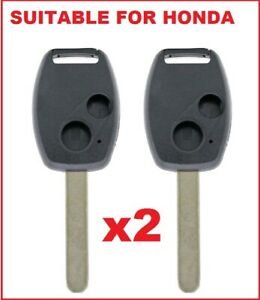 2 x Remote Car Key Shells suitable for Honda CIVIC CRV JAZZ ACCORD ODYSSEY 2B