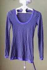 metalicus Nylon Long Sleeve Striped Tops & Blouses for Women