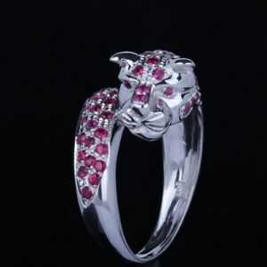 Solid 14K White Gold Engagement Pave.95ct  Natural Ruby Flawless Ring Fine Band