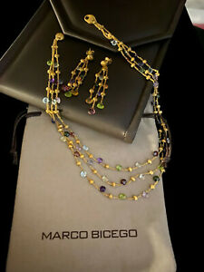 Marco Bicego 18k Yellow Gold & Mixed Stone Paradise Necklace and Earring Set