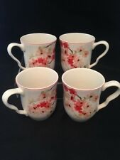 222 FIFTH Cherry Blossom White Fine China Porcelain Cups Mugs (Set of 4)