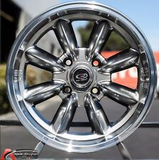 15X7 ROTA RB RIMS 4X108 HYPER BLACK WHEELS +30MM FITS ALFA ROMEO GTV SPIDER