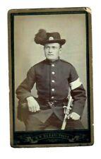 CDV SOLDIER UNIFORM DAGGER SWORD RED CROSS HAT BADGE NORWAY Sodahl Photo Denmark