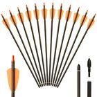 """12X 15inch Archery Carbon Crossbow Bolts Arrow With 2"""" vanes Hunting spine 350"""